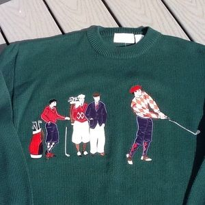 NWT IZOD applicate and embroidered gold sweater